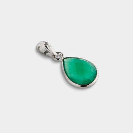 Pingente Gota em Prata 925 e Quartzo Verde