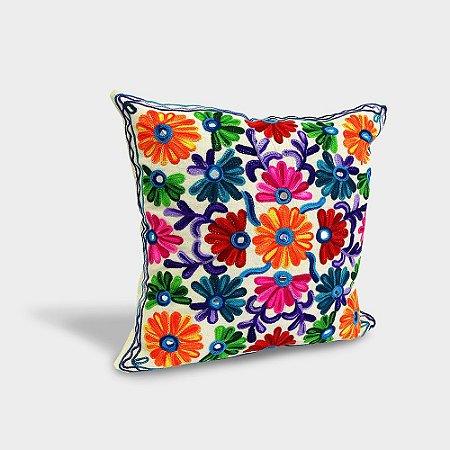 Capa de almofada com bordado indiano Flores Espiral