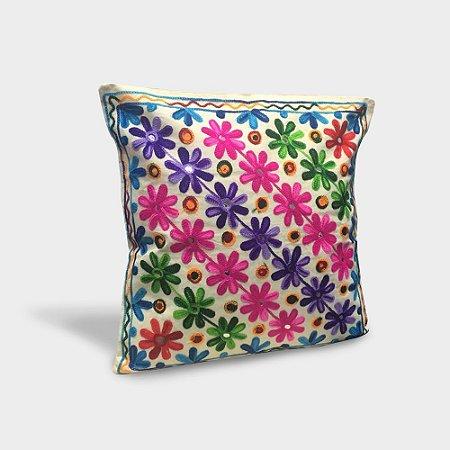 Capa de almofada Linha de Flores com bordado indiano