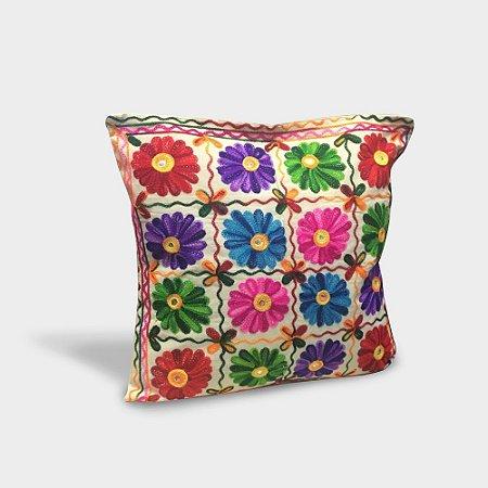 Capa de almofada Flores Quadrado com bordado indiano