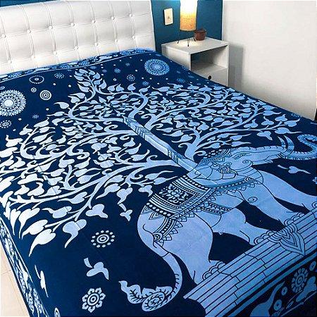 Colcha Indiana Elefante Azul