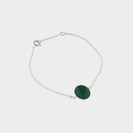 Pulseira Prata 925 e Quartzo Verde