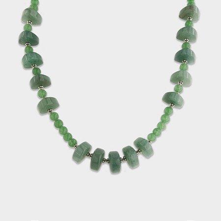 Colar Trabalhado em Prata 925, Quartzo Verde e Jade