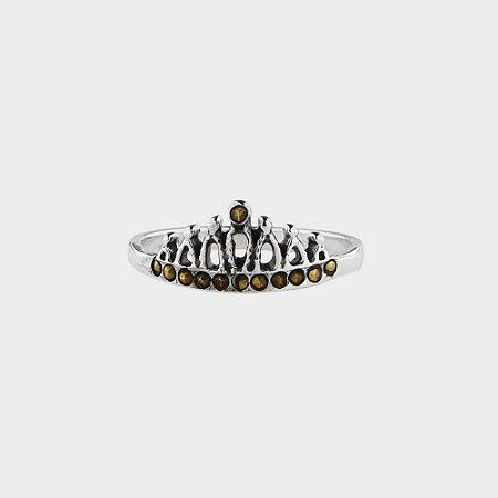 Anel Composê Coroa em Prata 925 e Marcassitas