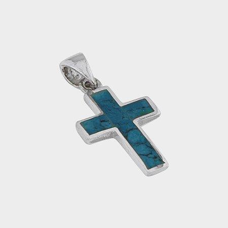 Pingente Cruz Pequena em Prata 925 e Pedra de Salomão