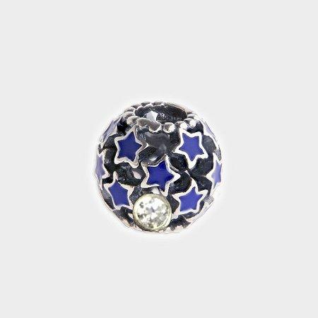 Charm Estrelas Azuis em Prata 925 e Zircônia