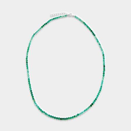 Colar Mahara em Prata 925 e Quartzo Verde