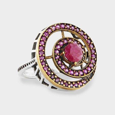 Anel Espiral Rosa em Prata 925 e Zircônia