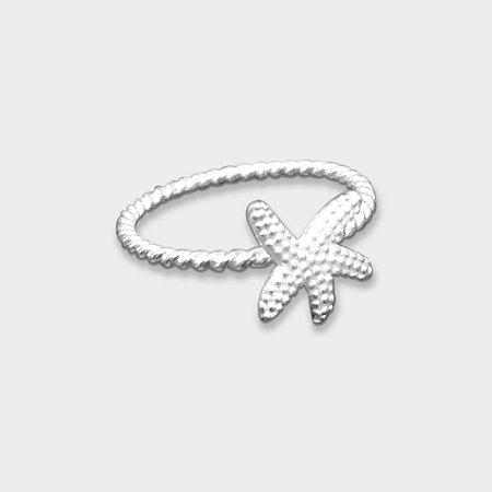 Anel Estrela do Mar em Prata 925