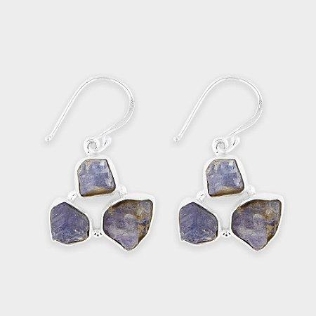 Brinco 3 Pedras Brutas em Prata 925 e Tanzanita