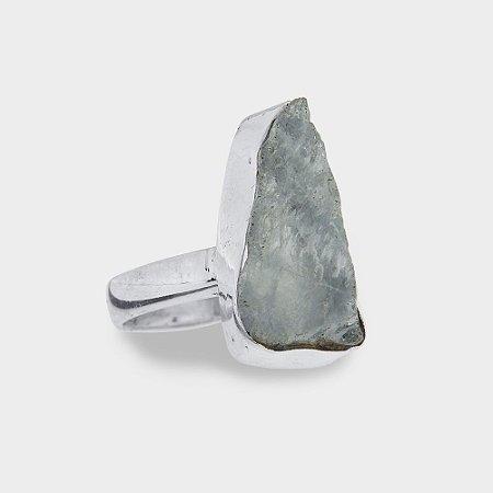Anel em Prata 925 e Pedras Natural Bruta em Água Marinha