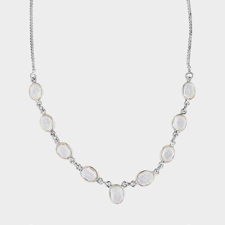 Colar 9 Pedras em Cristal e Prata 925