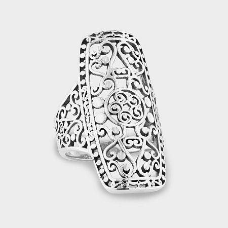 Anel Arabesco Quadrado em Prata 925