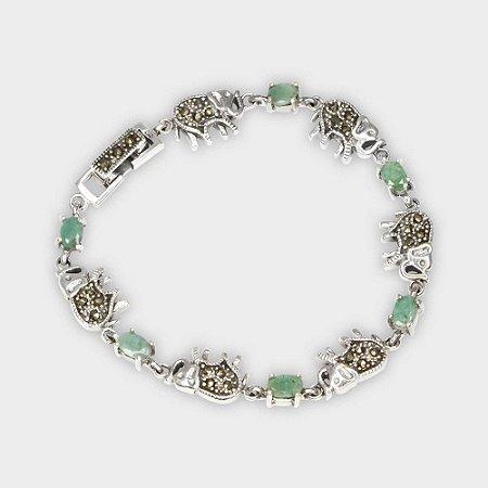 Pulseira Elefantes em Prata 925, Marcassitas e Esmeralda