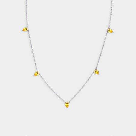 Colar Gotas em Prata 925 e Zircônia Amarela