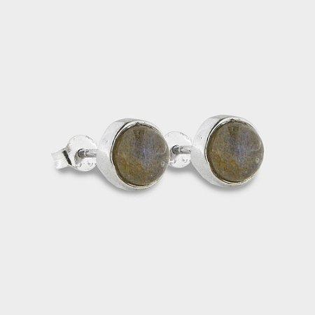 Brinco Plug em Prata 925 e Pedra Natural Labradorita