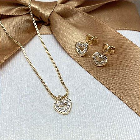 Conjunto Mini Coração Cravejado Semijoia Ouro