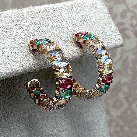Brinco Argola Pedras Multicoloridas Semijoia Ouro