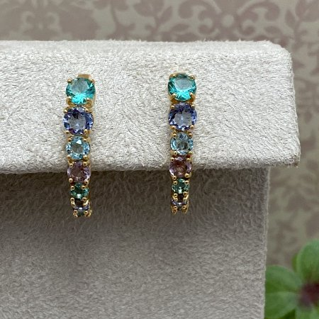 Brinco Ear Hook Pedras Coloridas Semijoia Ouro