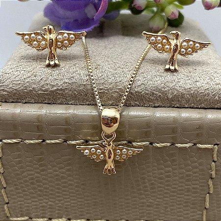 Conjunto Pombinha com Mini Pérolas Semijoia Ouro