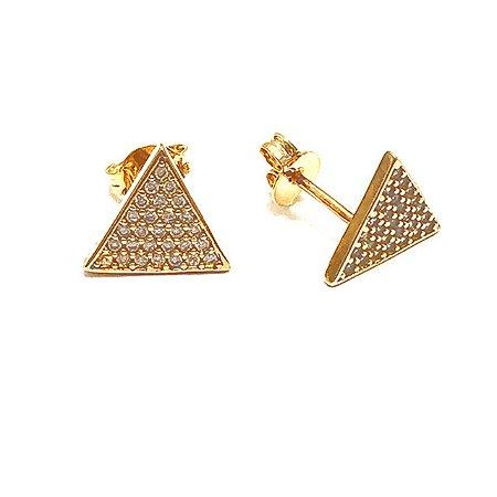 Brinco Triângulo Cravejado Semijoia Ouro