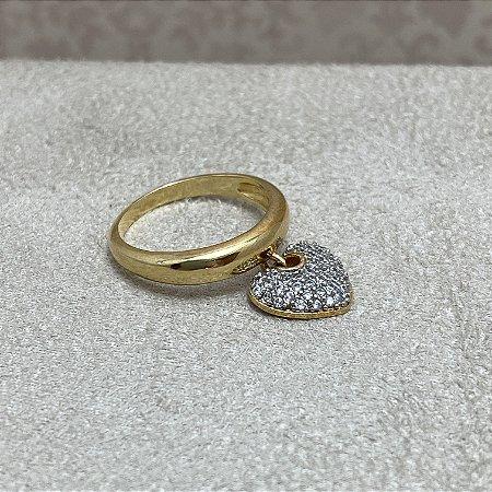 Anel Coração Pendurado Semijoia Ouro