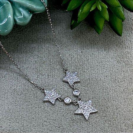 Colar 3 Estrelas Cravejadas Semijoia Ródio