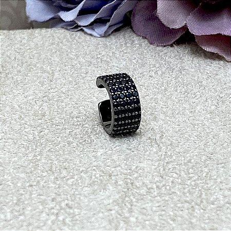 Brinco Falso Piercing Luxo Semijoia Ródio Negro