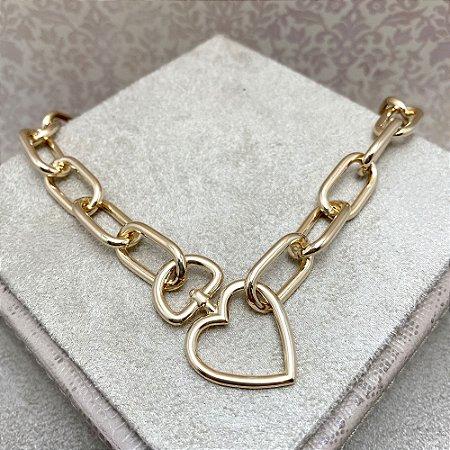 Colar Elos Ovais Coração Vazado e Fecho Boia Semijoia Ouro