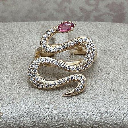 Anel Cobra Cravejada Semijoia Ouro