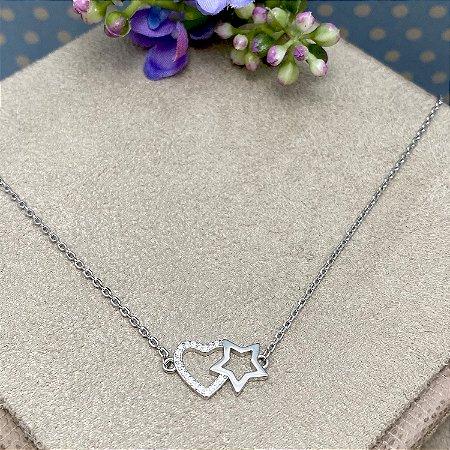 Colar Coração Cravejado e Estrela em Prata Rodinada