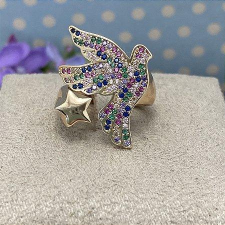 Anel Ajustável Estrela e Pomba Multicolorida Semijoia Ouro