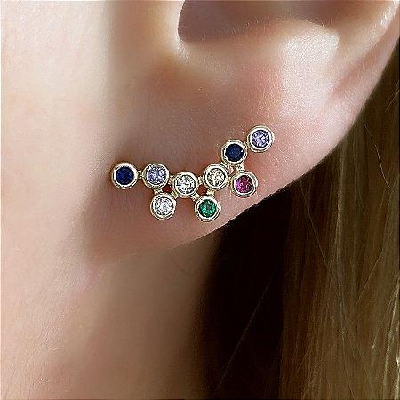 Brinco Ear Cuff com Zircônias Multicoloridas Semijoia Ouro