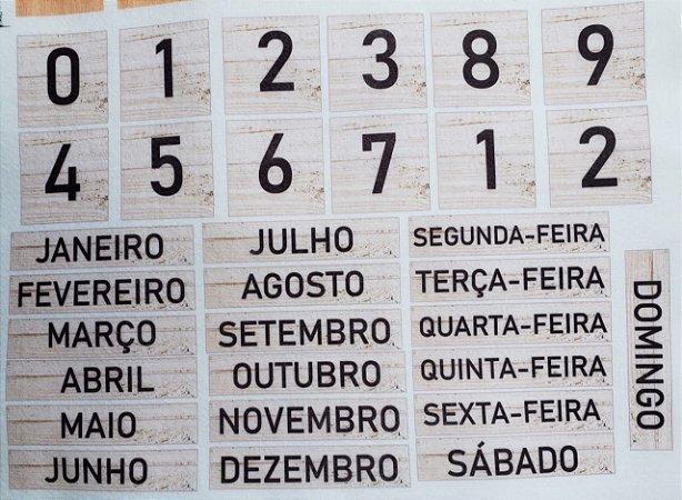 Calendário de mesa Madeira Clara