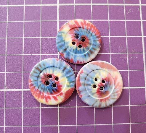 Botões Tie Dye 2,8 Centímetros