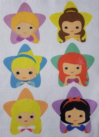Pingente de Natal estrelinhas Princesas 9cm
