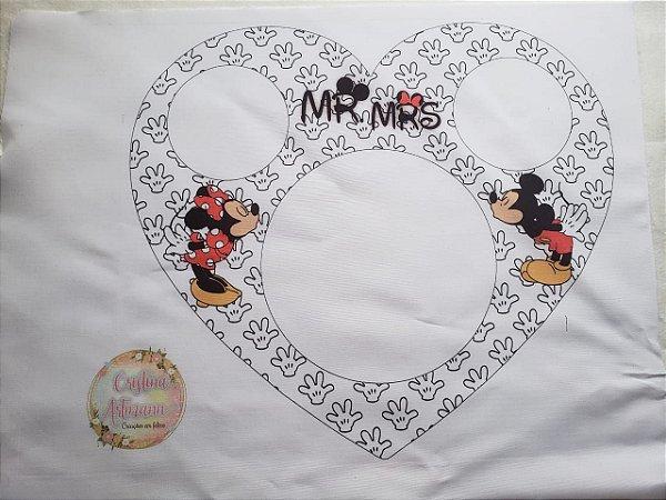 Almofada Pipoca G Coração Mickey e Minnie