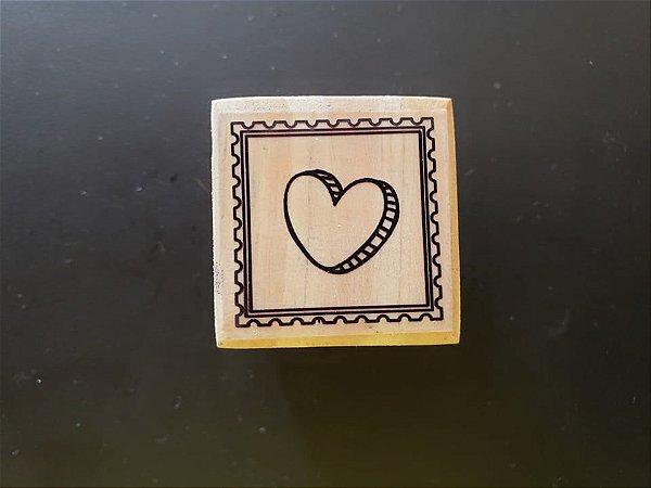 Carimbo Coração Moldura 3x3