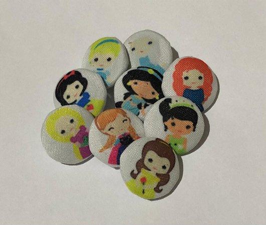 Botões Princesas Cute com 9 unidades