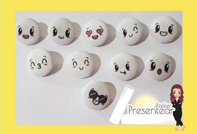 Botões Carinhas Kawaii com 10 unidades