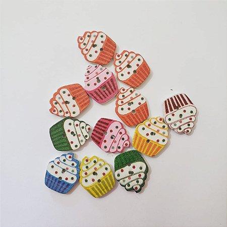 Botão de Madeira Cupcake com 4 unidades