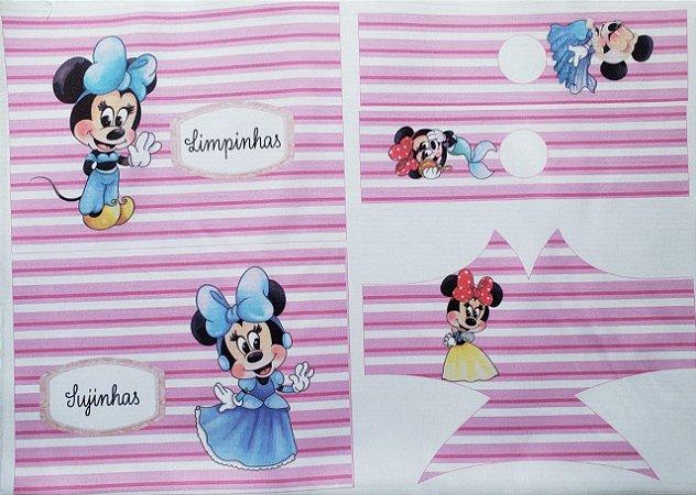 Kit Máscara + Porta Álcool em gel + porta máscara Minnie INFANTIL