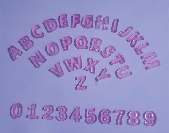 Mini Alfabeto Didático + kit numeral resina Rosa