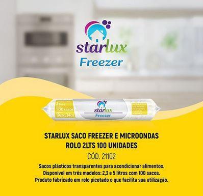 Saco Freezer e Microondas Rolo 2L 100 Unidades Starlux