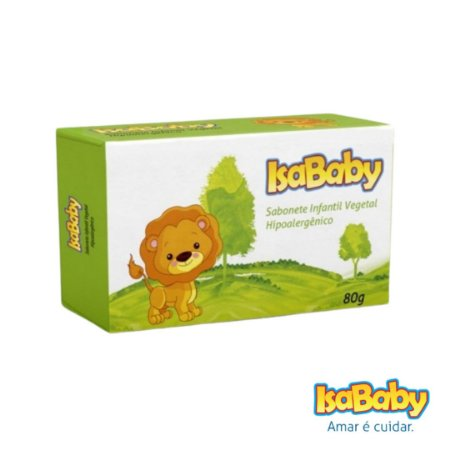 Sabonete Infantil Vegetal IsaBaby Zoo Verde 80g extrato de camomila