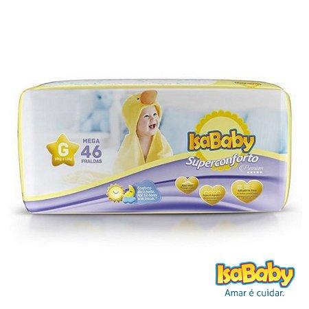 Fralda IsaBaby Premium Mega G 46 Unidades (algodão muito macio)...