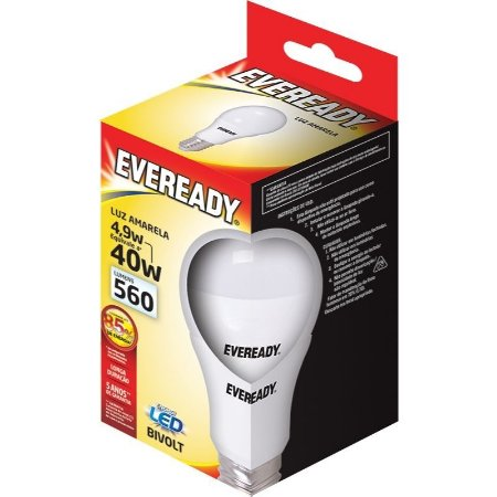 Lâmpada Led 4.9W (40W) Bivolt 3000K Luz Amarela - Linha Eveready
