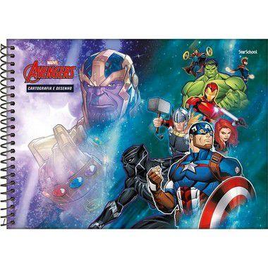 Starschool Caderno Espiral Cartografia Avengers Capa Dura 80 Folhas com 4 Unidades