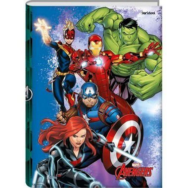 Starschool Caderno Universitário Costurado Avengers Capa Dura 80 Folhas com 5 Unidades