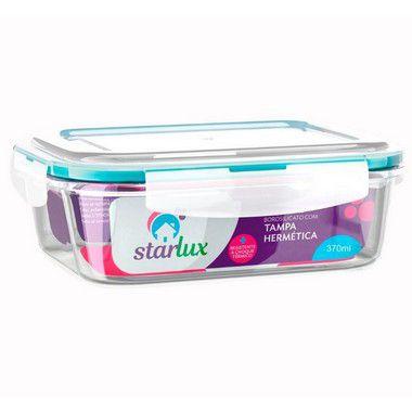 Starlux Ud Pote de Vidro Retangular com Tampa Hermetica 370ML com 1 Unidade
